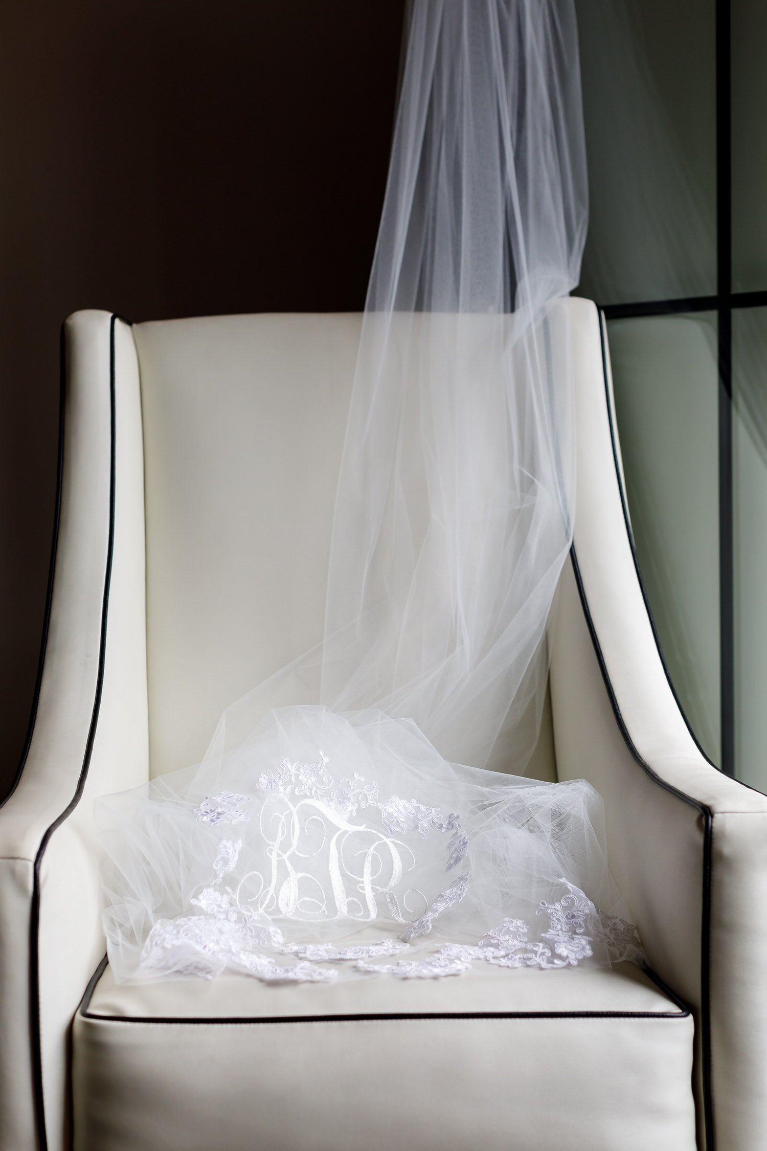 long cathedral wedding veil with monogrammed initials