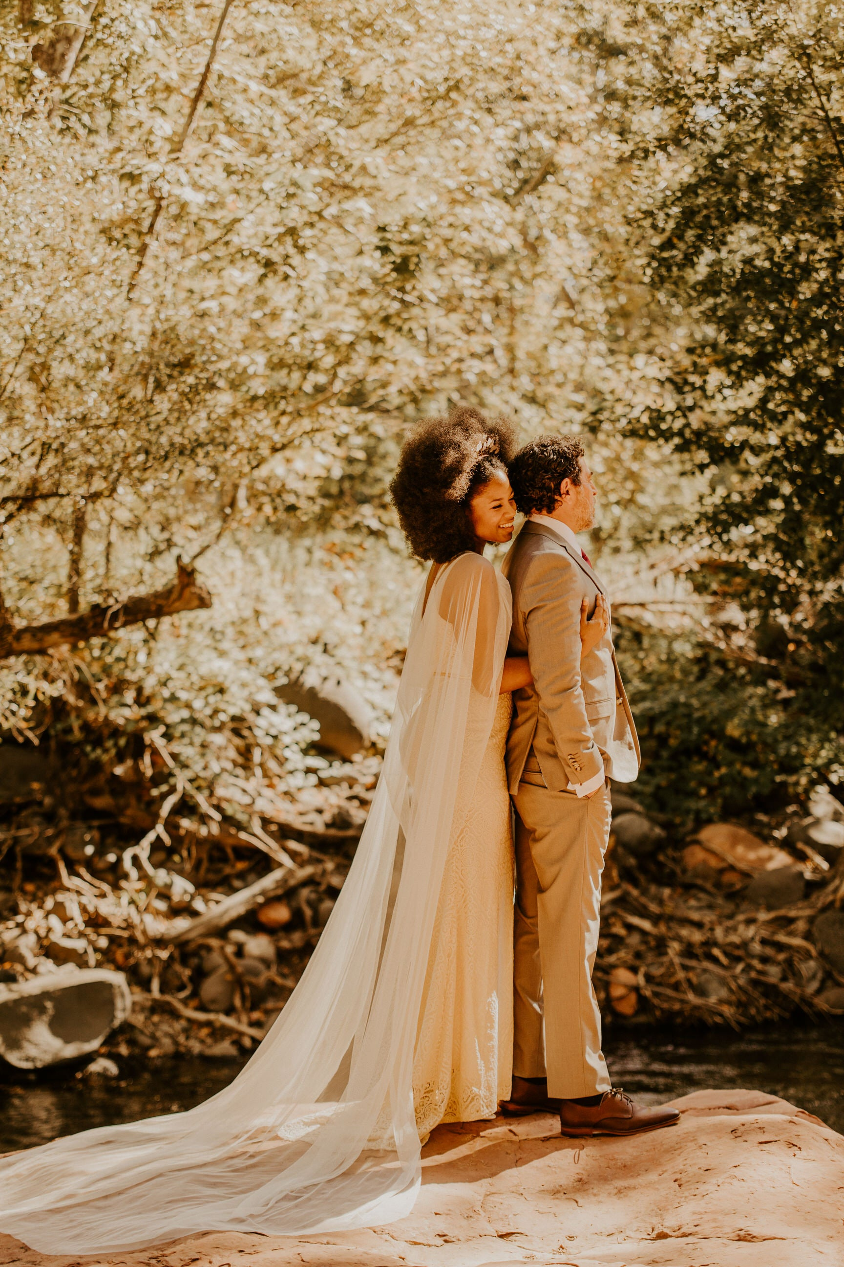 modern elopement wedding with bride in long wedding dress wrap