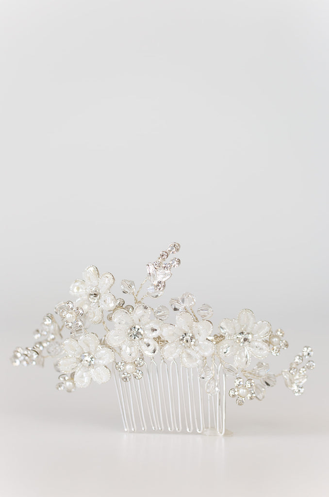 ETERNITY - Silver Flower Hair Comb with Rhinestones & Beads