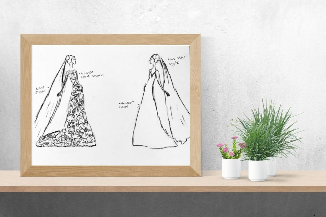 framed sketch of lace wedding dress and cathedral bridal veil