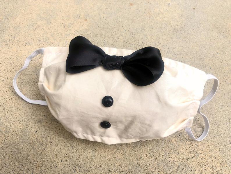 white bowtie wedding face masks for elopement