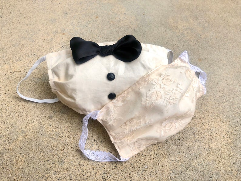 White Wedding Face Mask Set for Bride and Groom, Funny Tuxedo Double Layer Face Cover