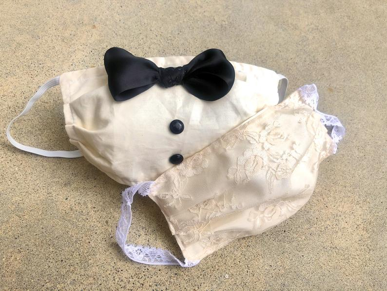 funny white wedding face masks for elopement
