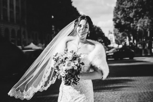 french winter  bride in lace veil and fur wrap