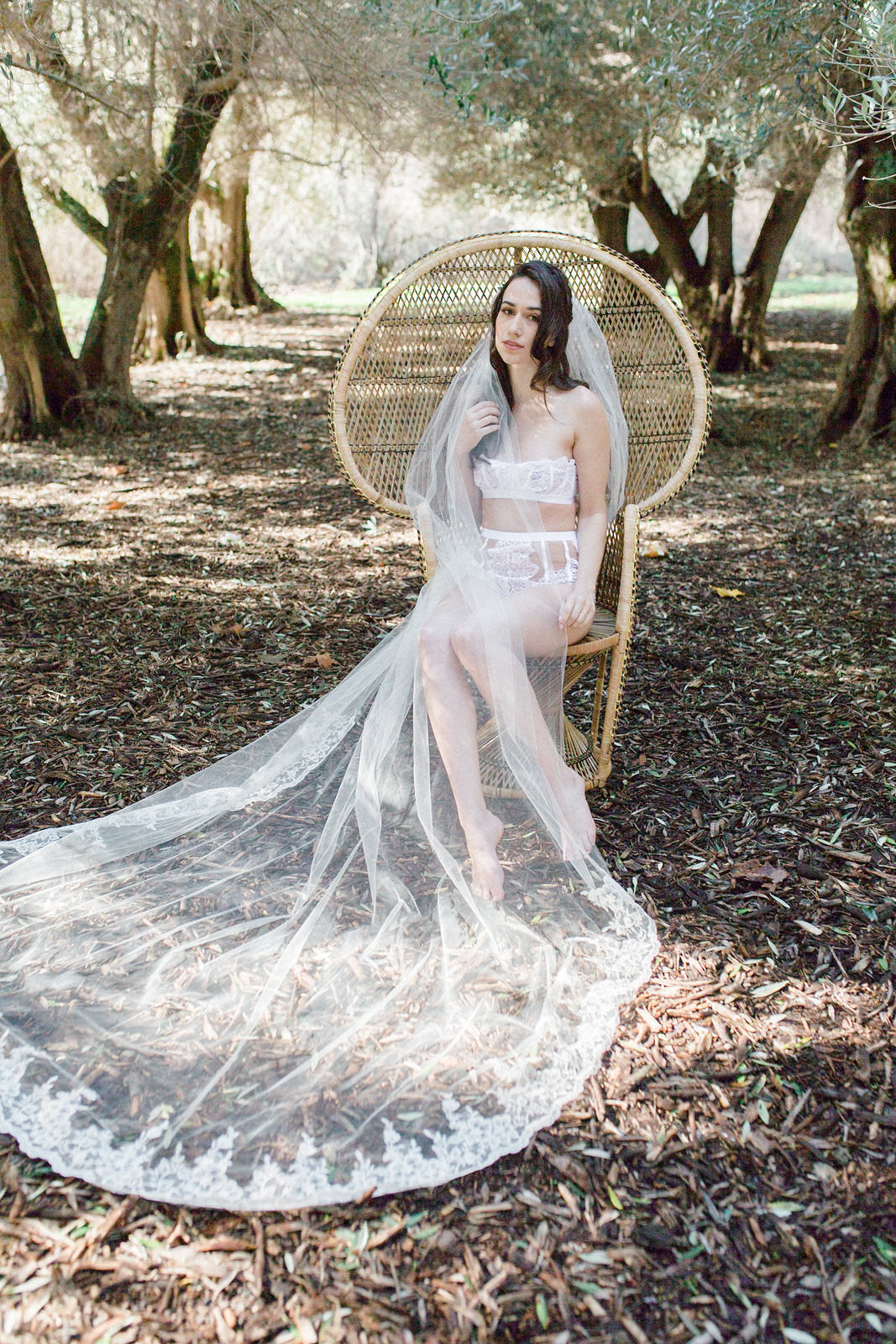 bride in long cathedral veil and lace lingerie