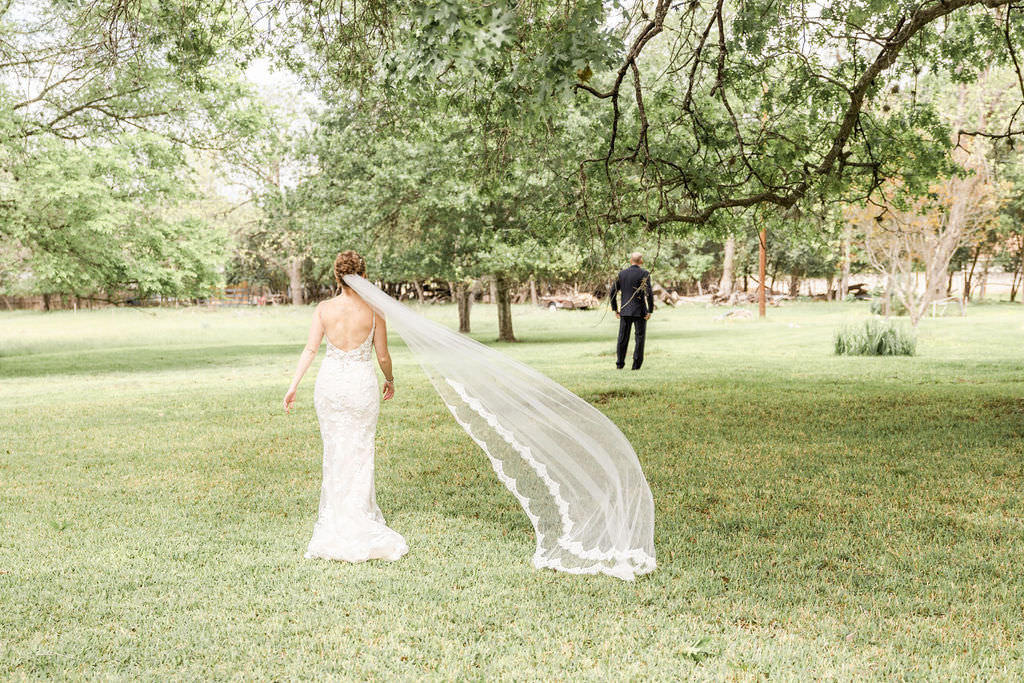 single layer cathedral veil with lace for low back wedding dress