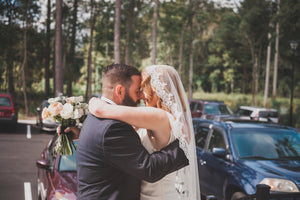 Rustic Woodsy Wedding with Bride and Groom Hugging