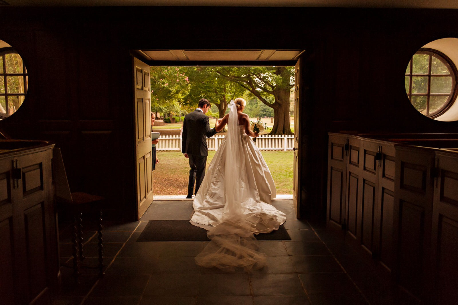 extra long cathedral veil and silk ballgown