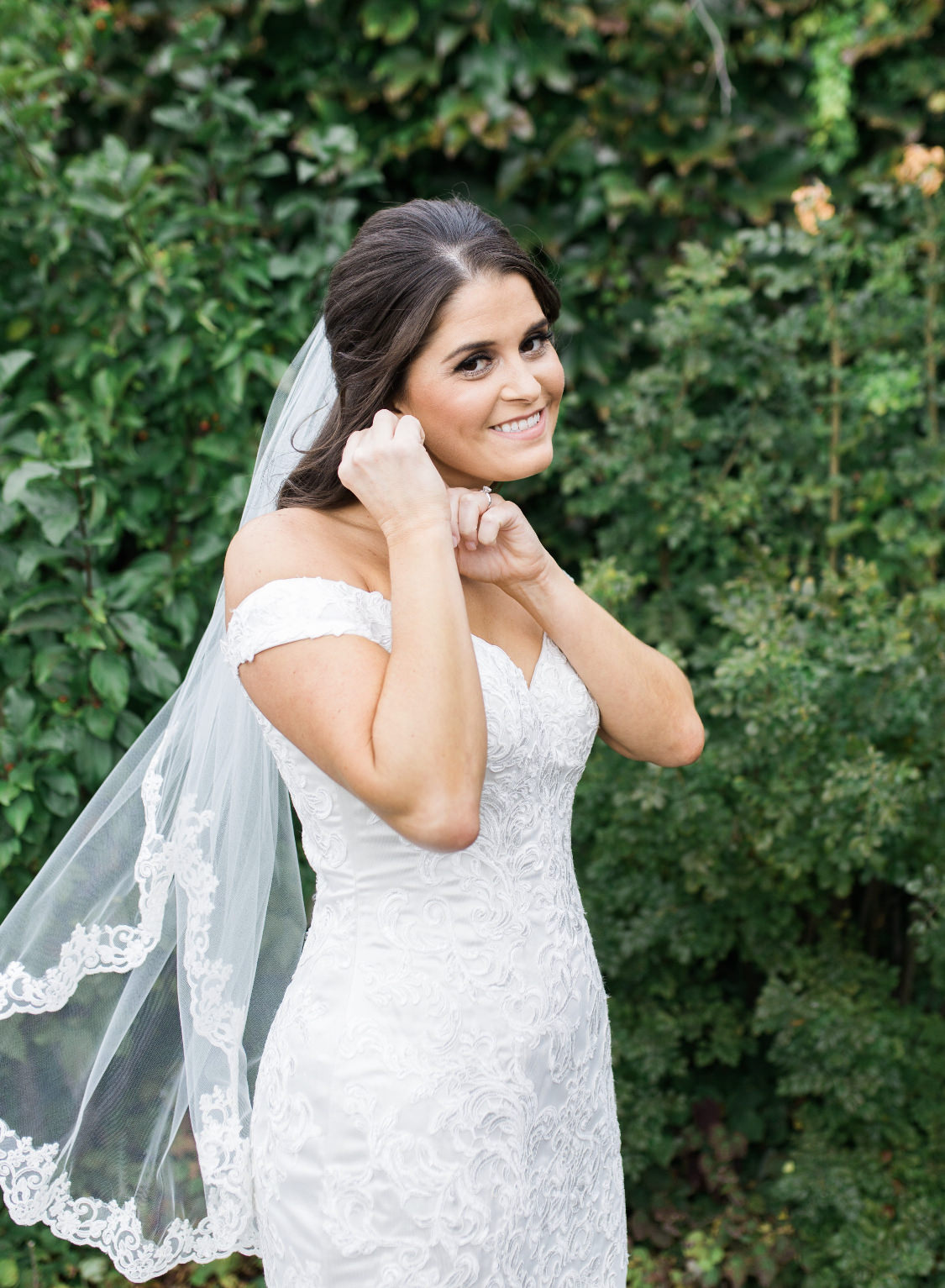 lace fingertip length wedding veil in half up half down hair