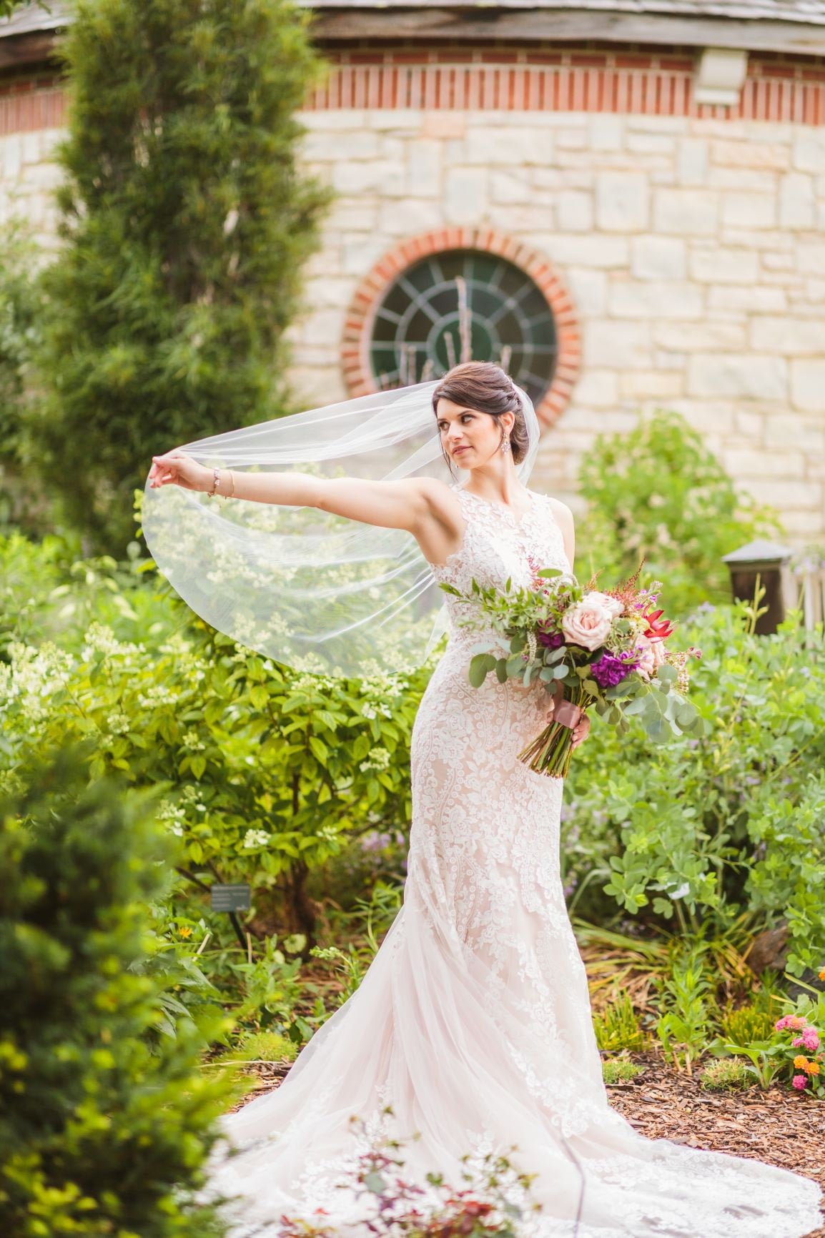 Garden Wedding: Lace Dress and Simple Fingertip Veil by One Blushing Bride