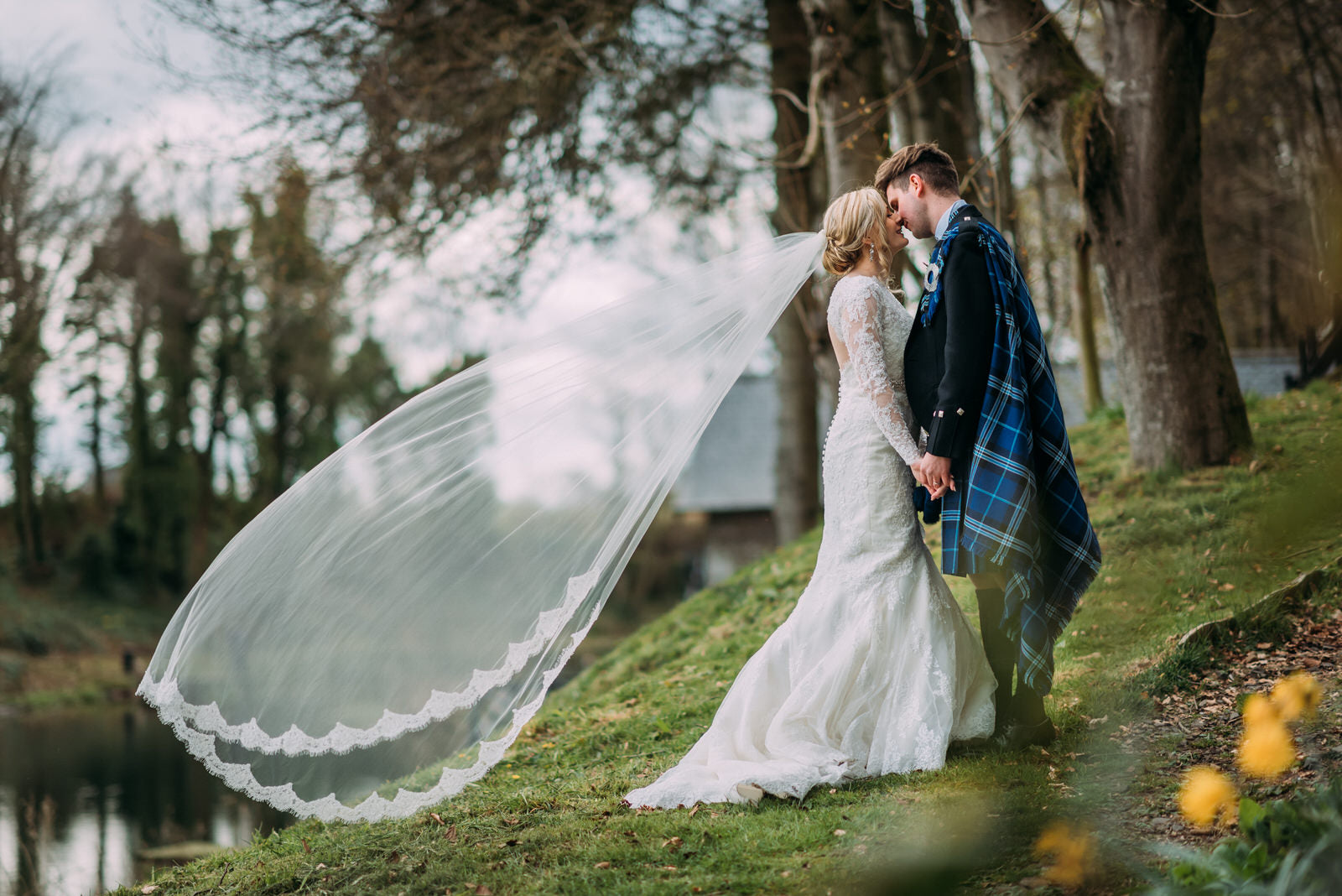 highlands wedding with long cathedral lace wedding veil