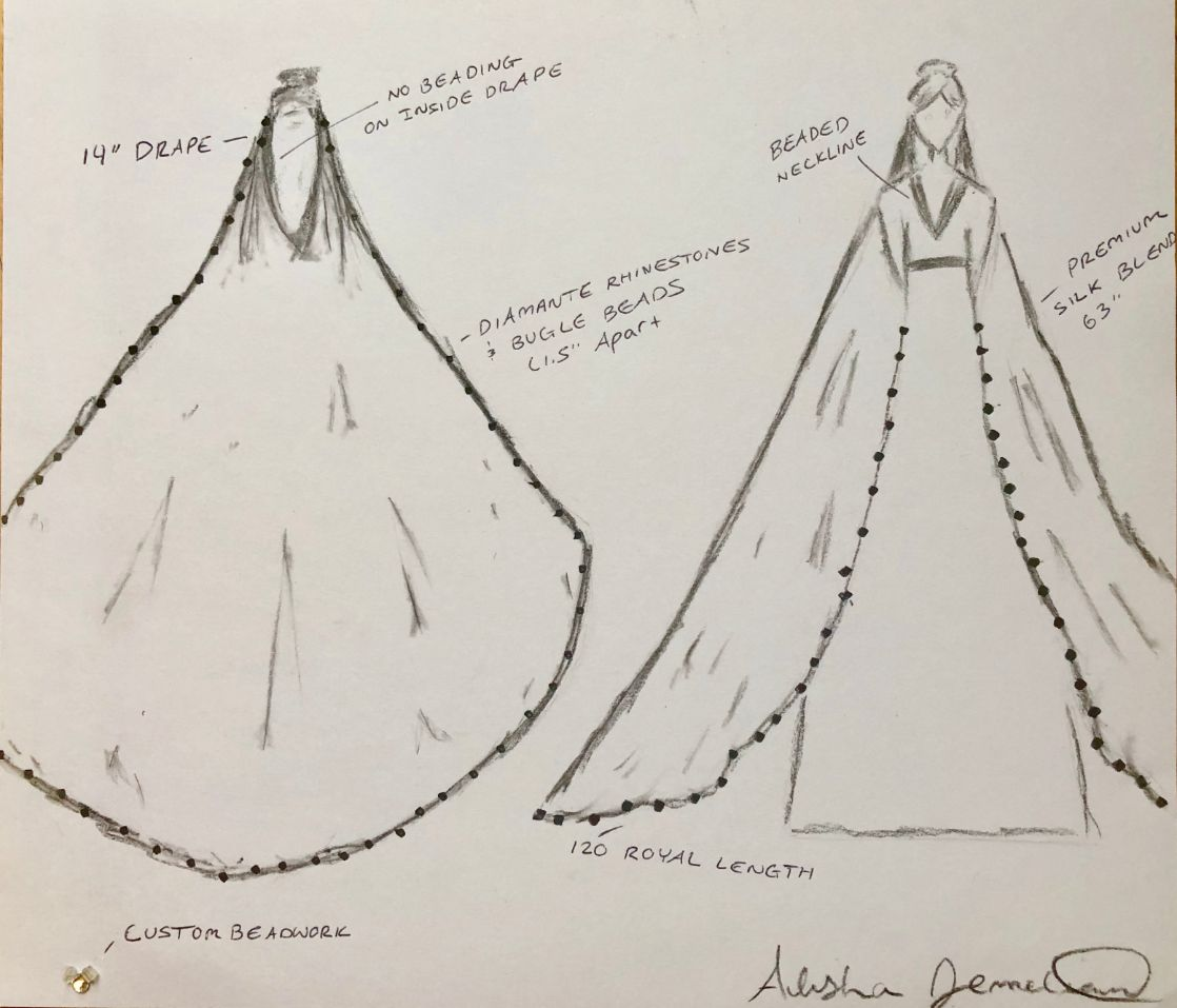 artist sketch of beaded draped wedding veil and custom dress