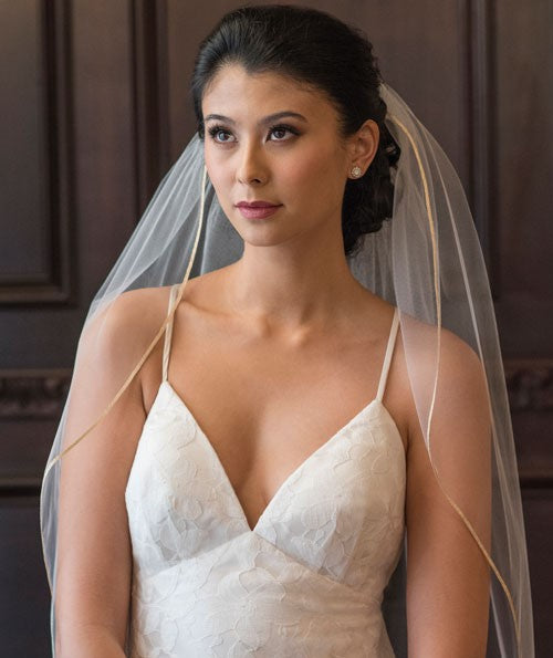 AGAPE - Simple Fingertip Length Wedding Veil with Ribbon Trim, Soft Single Tier Bridal Veil
