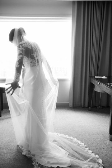 long cathedral wedding veil with lace for elegant bride
