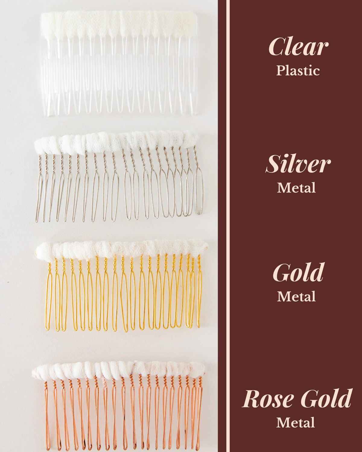 silver or gold metal hair combs for veil
