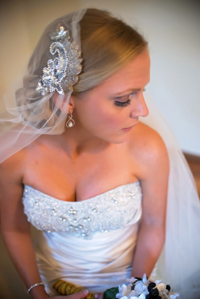 glamorous bride in vintage juliet cap beaded wedding veil