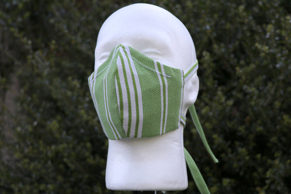 Moss Green Stripes Face Mask