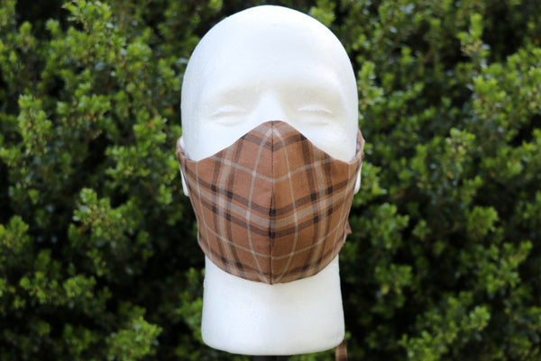Brown Plaid Face Mask