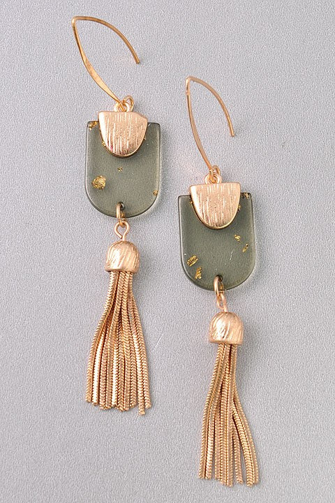 Speckled Stone & Chain Tassel Earrings