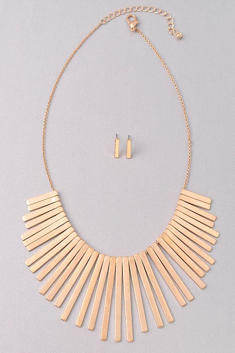 Metal Bars Statement Necklace Set