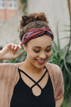 Burgundy Tribal Headband