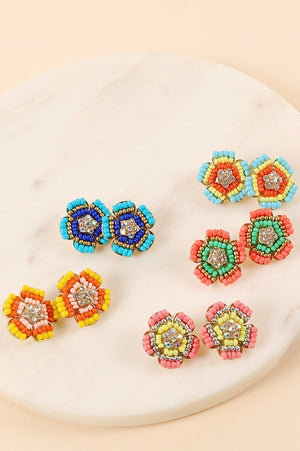Beaded Floral Studs