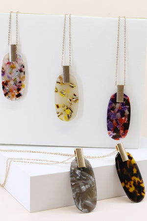 Marbled Acetate Pendant Necklace