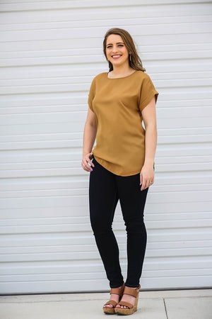 Jane: Woven Roll Sleeve Blouse