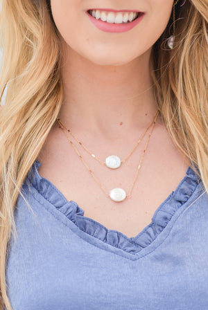 Layered Flat Pearl Necklace