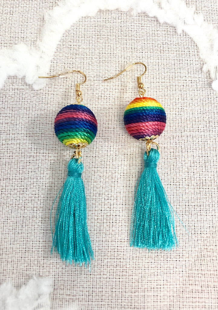 Multi Colored Ball & Tassel Earrings