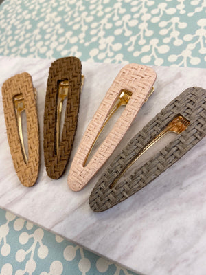 Natural Woven Hair Clip Set