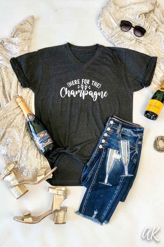 AK Tees - Here For The Champagne V-Neck