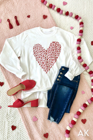 AK Tees - XOXO Heart Long Sleeve Tee