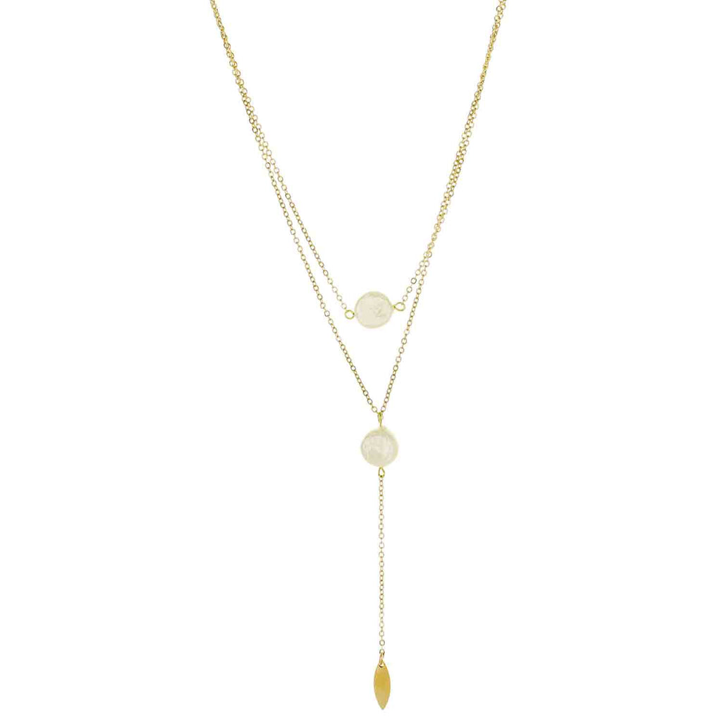 Layered Flat Pearl Drop Necklace