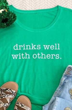 AK Tees - Drinks Well With Others Dolman Tee