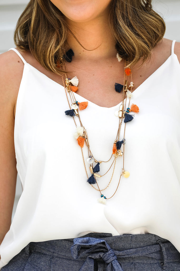Four Layered Tassel Necklace
