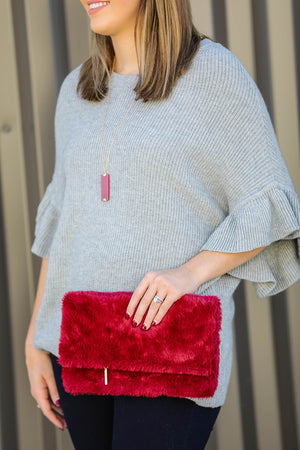 City Lights Faux Fur Clutch