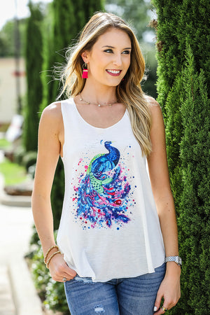 Watercolor Peacock Tank