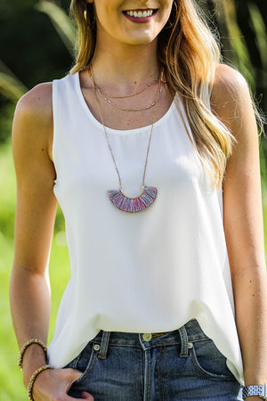 Layered Fringe Fan Necklace