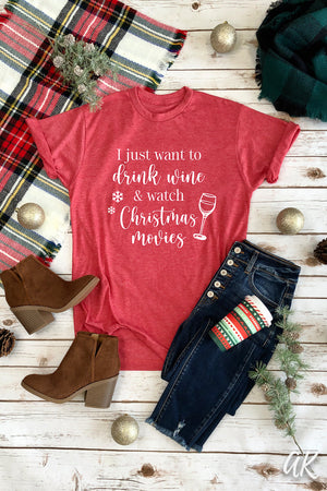 AK Tees – Wine & Christmas Movies Vintage Tee