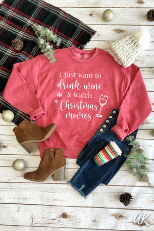 AK Tees – Wine & Christmas Movies Sweatshirt