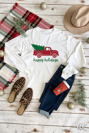 AK Tees – Happy Holidays Long Sleeve Tee