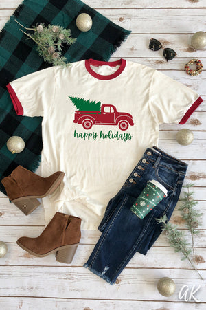 AK Tees – Happy Holidays Ringer