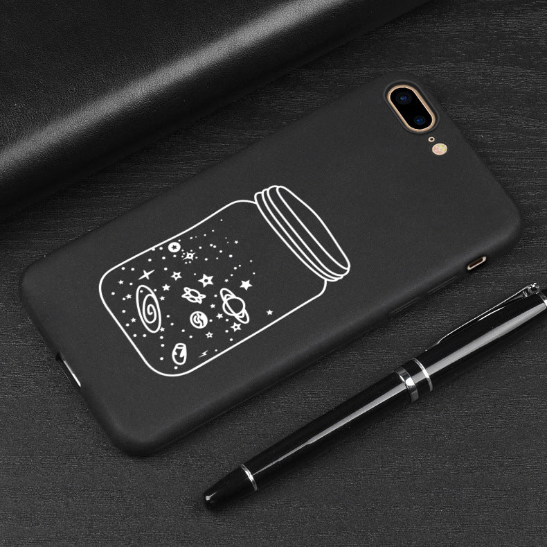 Soft TPU Black Cute Cartoon Matte Cover iPhone 7 Case