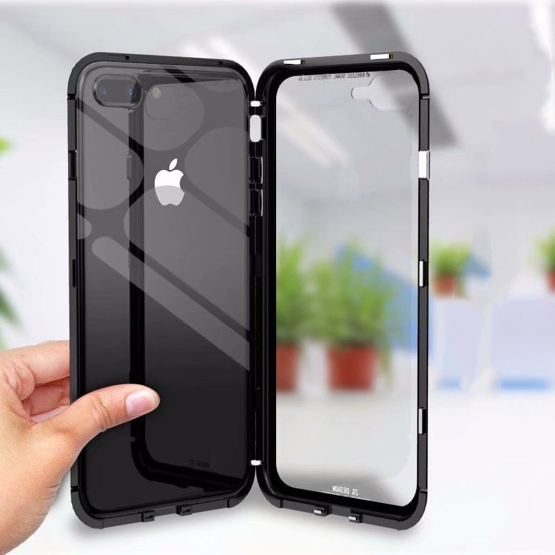 Hot ! Tempered Glass Back Cover + Aluminum Case for Apple iPhone 7 8 Plus X