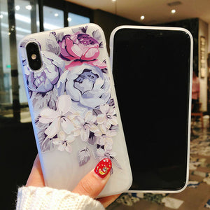 Flower Print Silicon iPhone Case For iPhone XS Max Rose Floral Cover