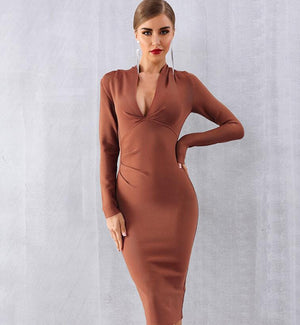 Sexy Deep V Long Sleeve Bodycon Dress