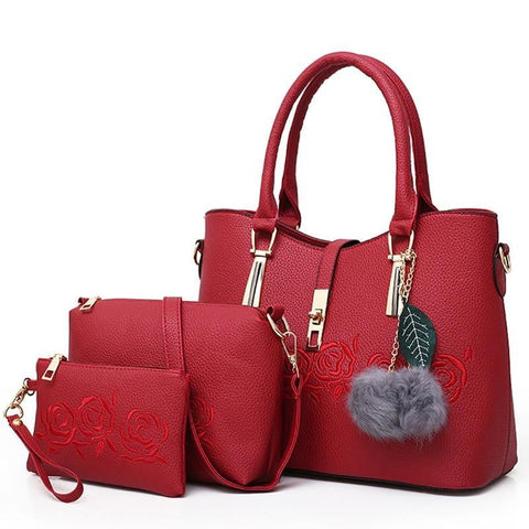 3pcs Rose Leather Tote Handbag
