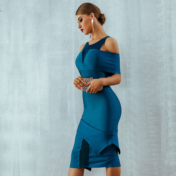 Sexy Off Shoulder Hollow Out Midi Bodycon Dress