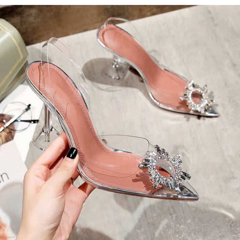 Glass Slipper Pointed High Heels
